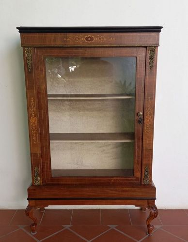 19th Century Victorian Walnut and Glass Pier Display Cabinet