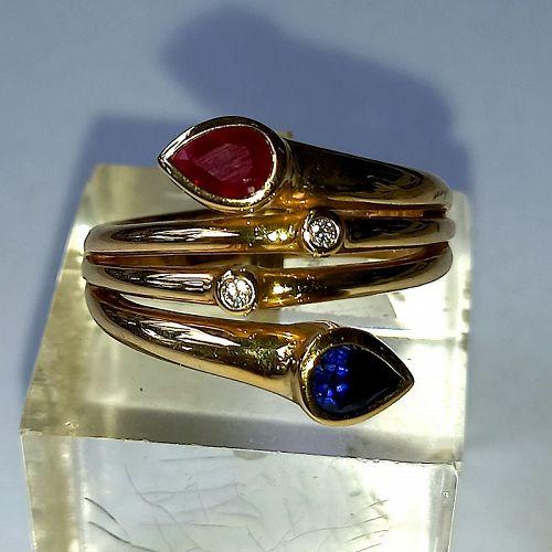 """""""TOI-ET-MOI"""" GENUINE SAPPHIRE-RUBY-DIAMOND RING 18K. GOLD"""
