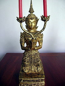 Thai gilt Bronze Angel Candle Holder