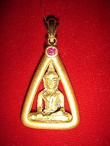 Amulet Gold Pendant with Buddha and Ruby, Thailand