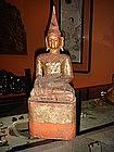 Wooden Buddha subduing Mara, Northern Thai Lanna