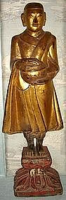Gilded Wooden Monk with alms bowl, 19th Century, Burma