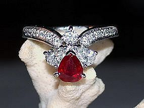 Genuine Ruby/Diamond Ring, 18K. White Gold