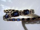 Genuine Blue Sapphire and Diamond Bracelet, 18K. Gold