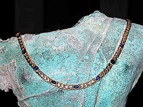 Solid Gold 18K. Necklace with 9 Blue Ceylon Sapphires
