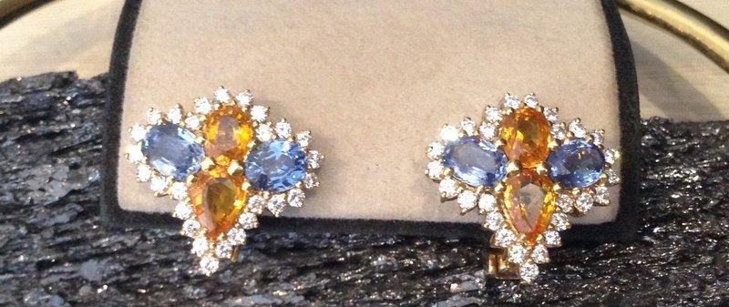 Genuine Sky Blue/Yellow Sapphire/ Diamond Earrings 18K