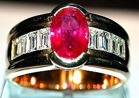 Rare Genuine Burma Ruby/Diamond 18K Ring