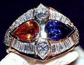 Important Blue + Yellow Sapphire/Diamond Ring 18K Gold