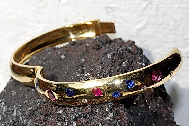 Genuine Blue Sapphire/Diamond/Ruby Bangle, 18K Gold