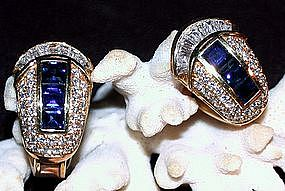 Exquisite Blue Sapphire/Diamond Earrings, 18K Gold