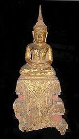 Gilded Lanna Thai Buddha, gilded wood, deep meditation