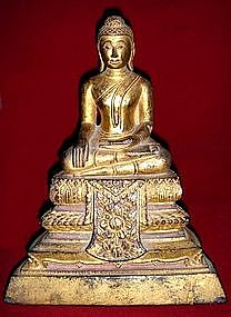 Gilt Thai Wooden Buddha, subduing Mara, 19th Century