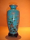 Antique Cloisonne Vase with Chrysanthemums, Turquoise