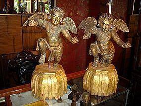 Pair of Baroque Cupid Angels, 19th Century
