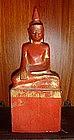 Wooden Lanna Thai Buddha, 19th Cent. Red/Gold Patina