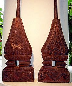 Pair of Antique hand carved Loom Weft Supports 19th C.