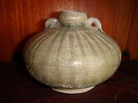 Celadon Vase China, w. loops/incised band decor