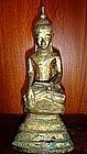 Ava Period Silver Buddha, 17/18th Century, Burma, gold patina