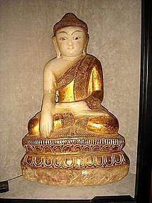 Marble Shakyamuni Buddha with Gilding, 18/19th Century