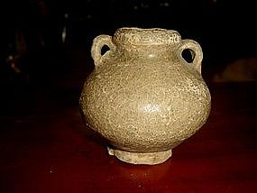 Craquele Green Sung Celadon Pot with loops, pre 1492