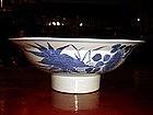 Kangxi Blue + White Porcelain Bowl with Pedestal Base
