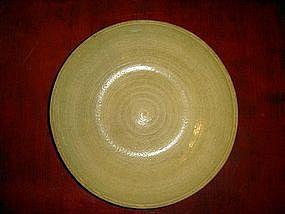 Sawangkhalok Celadon Dish, Olive Green, Pre 1492, Siam