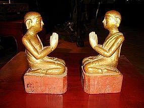 Pair of 19th Century Wooden Disciples, Burma