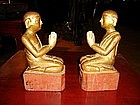 Pair of 19th Century Wooden Disciples, Burma