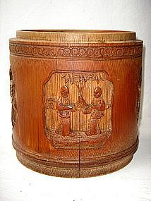Qing Bamboo Caddy with 4 carved Medallions