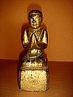 Gilt Wooden Hand Carved Monk praying, 19th Cent. Burma