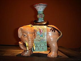 Polychrome Porcelain Joss Stick Elephant Holder, China