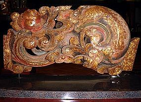 Stylized Chinese gilt Woodcarving, 19th Century