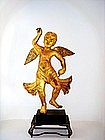 Mandalay Burmese Wooden gilt Cupid Angel Figure (pair)
