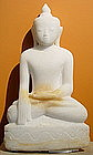 White Marble Buddha Sculpture, 19th Century, subduing M