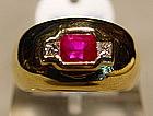 Stunning Burmese Ruby and Diamond Ring Solid 18K.