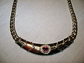 18K. Herring Bone Ruby & Diamond Necklace