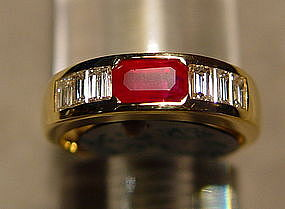 Burma Ruby/Diamond Ring, 18K. Gold