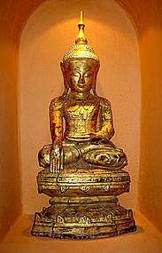 Superb Papier-Mache Gilt Shan Buddha, 19th Cent.