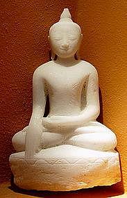 Shakyamuni Marble Buddha Sculpture subduing Mara, Burma