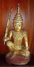Gilt Wooden Nat, MIN GYI/MIN LAY, 19th Cent., Burma