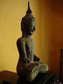 Serene Lacquer Buddha, Shan State Burma, 19th Cent.