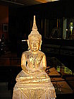 Lanna Thai Dhyana Mudra Buddha on high stepped Throne