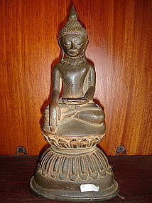 Bronze Shan State Buddha on Lotus Base 18th Cent.