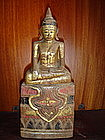 Unusual Thai Lanna Wooden Buddha Statuette, 19th Cent.
