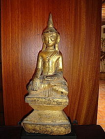 Gilt Wooden Lanna Thai Buddha, 19th Century