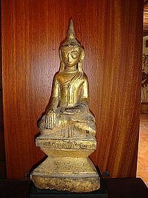 Gilt Wooden Lanna Thai Buddha, 19th Century