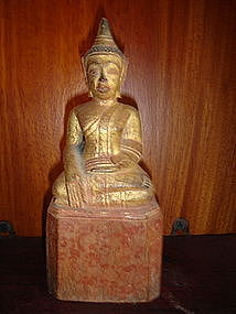 Lanna Thai Wooden Buddha with gilding, 19th Century