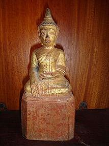 Lanna Thai Wooden Buddha with gilding, 19th Century