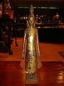 Laos or Lanna Wooden Standing Rain Buddha, 19th Cent.