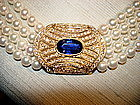 4 -Strand Pearl/Sapphire/Pave Diamond Necklace 18K Gold